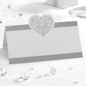 Zestaw 50 biało-srebrnych etykiet imiennych Neviti Vintage Romance