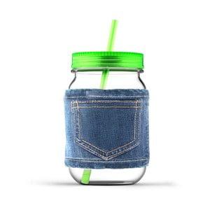 Słoik ze słomką Jeans Green