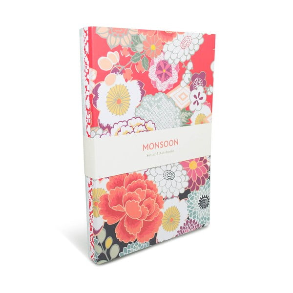 Zestaw   3 notatnik w linie A5 Portico Designs Monsoon, 80 stron