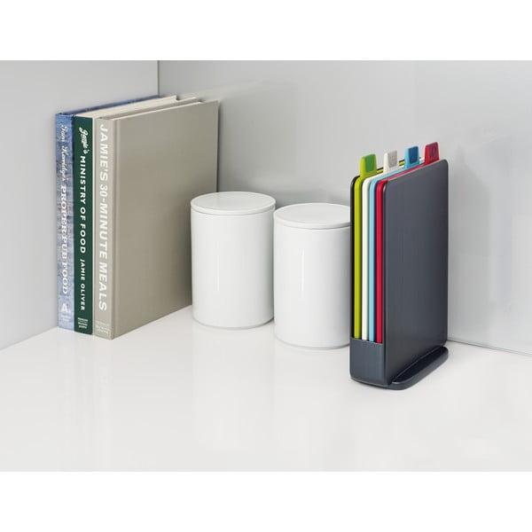Ciemnoszary stojak z 4 deskami do krojenia Joseph Joseph Index Index,15x20,5cm