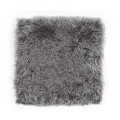 Szara poduszka futrzana do siedzenia ze skóry owczej z krótkim włosiem, 37x37 cm