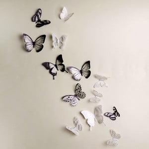 Zestaw 18 adhezyjnych naklejek 3D Ambiance Butterflies Chic