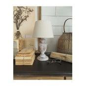 Biała lampa stołowa z drewna Orchidea Milano, 34 cm