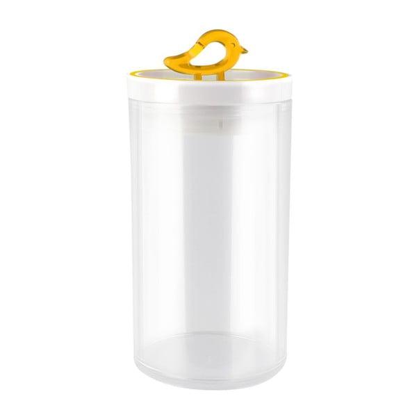 Przezroczysty pojemnik z żółtym detalem Vialli Design Livio, 1,2 l