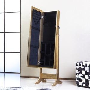Zamykane lustro stojące ze schowkiem Angelita, złote
