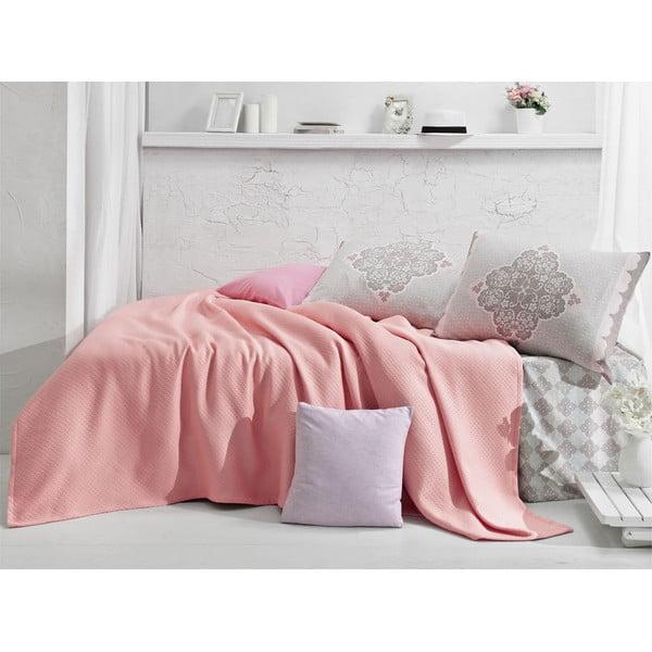 Narzuta i prześcieradło Lovely Pink, 160x235 cm