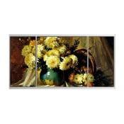 Trzyczęściowy obraz Asymetric Flowers, 80x40 cm