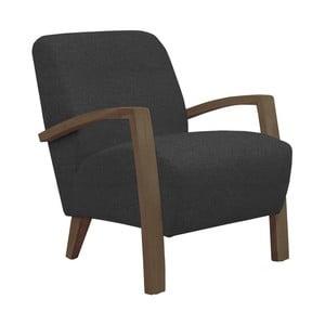 Ciemnoszary fotel z ciemnymi podłokietnikami Helga Interiors Emilia