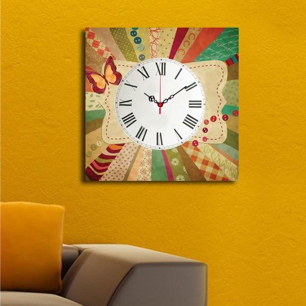 Obraz z zegarem Kolorowy Motyl