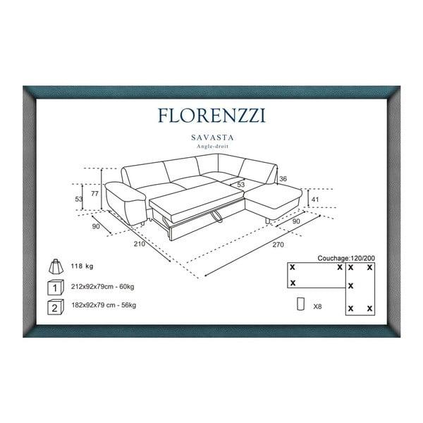 Narożnik rozkładany prawostronny Florenzzi Savasta Blue