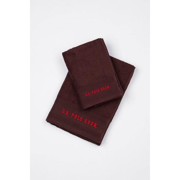 Zestaw 2 ręczników U.S. Polo Assn. Bordeaux, 50x100 cm i 70x140 cm