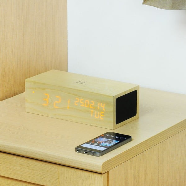 Głośnik Oak Click Clock z budzikiem z pomarańczowym LED