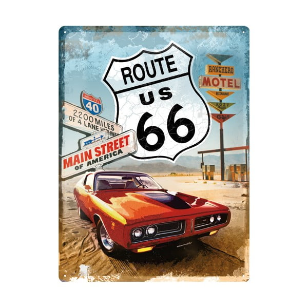 Blaszana tablica retro Route 66, 30x40 cm
