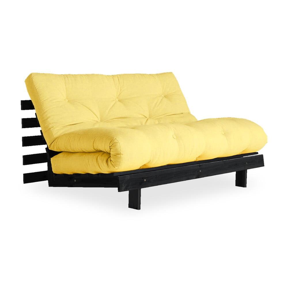 Sofa rozkładana z jasnożółtympokryciem Karup Design Roots Black/Yellow