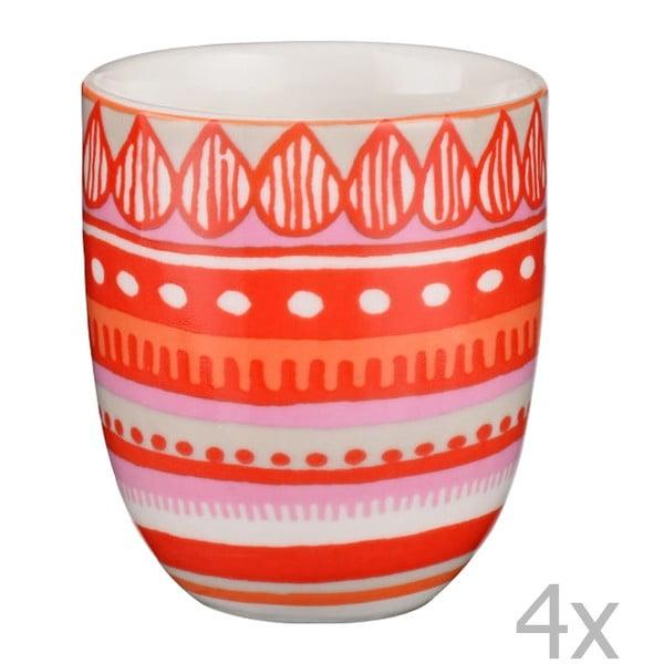 Komplet 4 porcelanowych filiżanek na espresso Oilily 80 ml, czerwony
