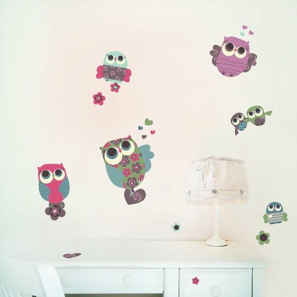 Naklejka wielokrotnego użytku Owls, 50x40 cm