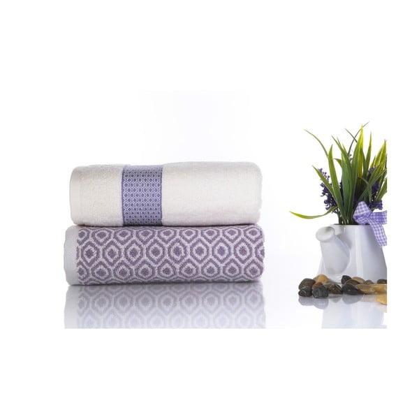 Komplet 2 fioletowo-białych ręczników z bawełny Ladik Alice, 50x90 cm