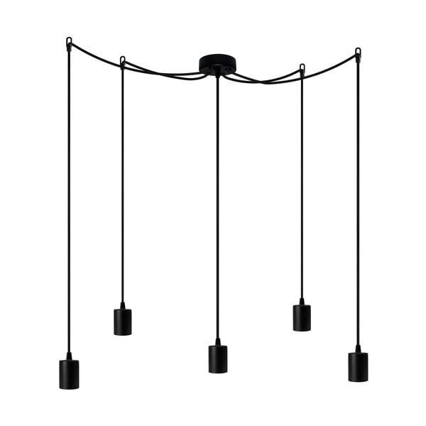Czarna pięcioramienna lampa wisząca z czarną oprawką Bulb Attack Cero