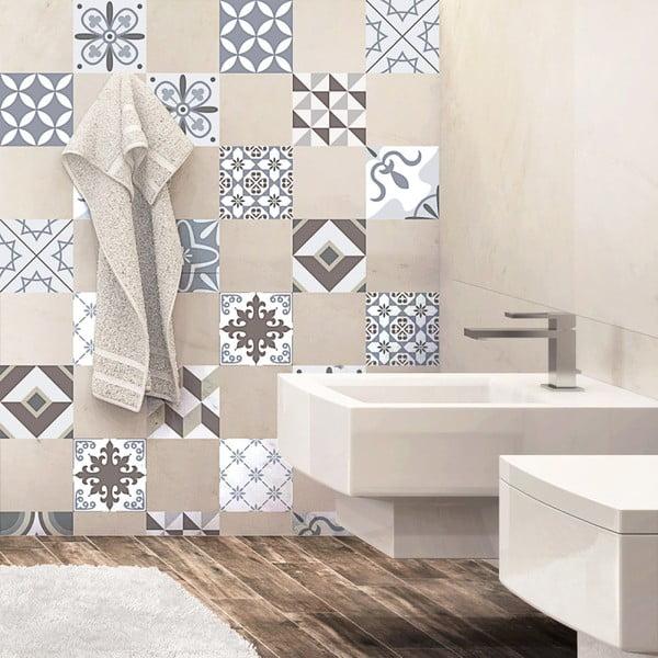 Zestaw 24 naklejek ściennych Ambiance Mosaic Portugal,10x10 cm