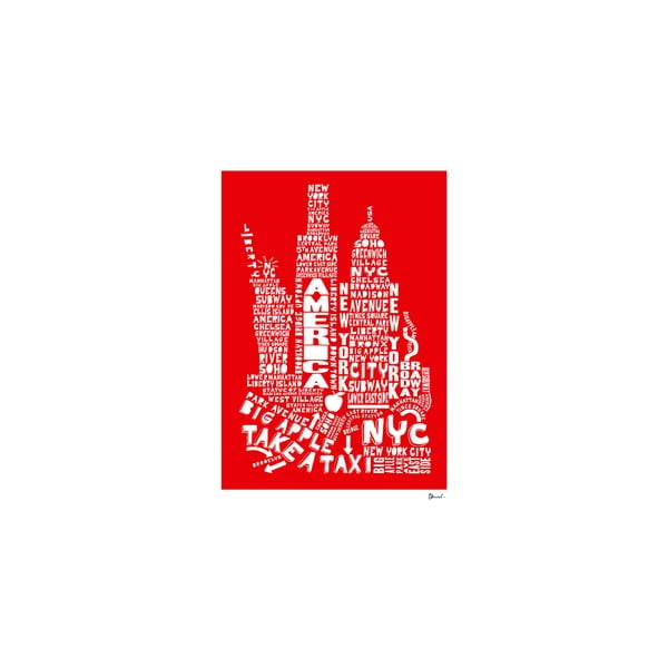 Plakat New York Red&White, 50x70 cm