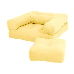 Żółty dziecięcy fotel rozkładany z podnóżkiem/pufem Karup Mini Cube