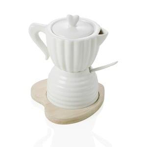 Porcelanowa cukierniczka z mlecznikiem, łyżeczką i bambusową tacą Brandani