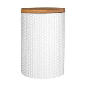 Biały pojemnik z bambusowym wieczkiem Premier Housewares White Hex, ⌀10x15cm
