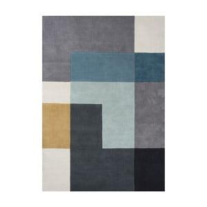 Wełniany dywan Tetris Aqua, 170x240 cm