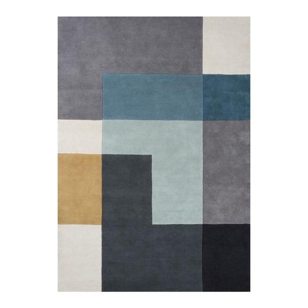 Wełniany dywan Tetris Aqua, 140x200 cm