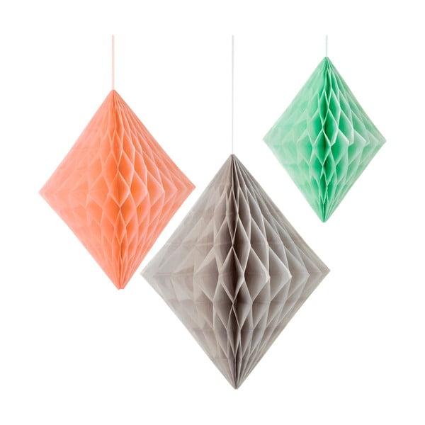 Papierowa dekoracja Honeycomb Diamond Peach&Mint, 3 szt.