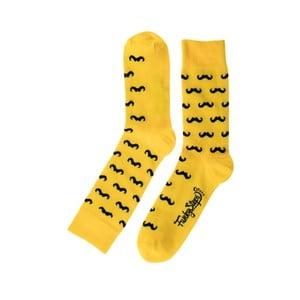 Żółte skarpetki Funky Steps Mustache, roz. 39 – 45