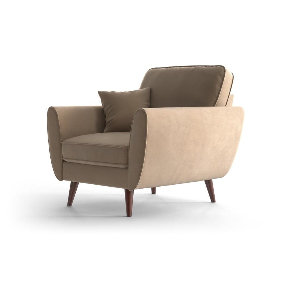 Karmelowy aksamitny fotel My Pop Design Auteuil