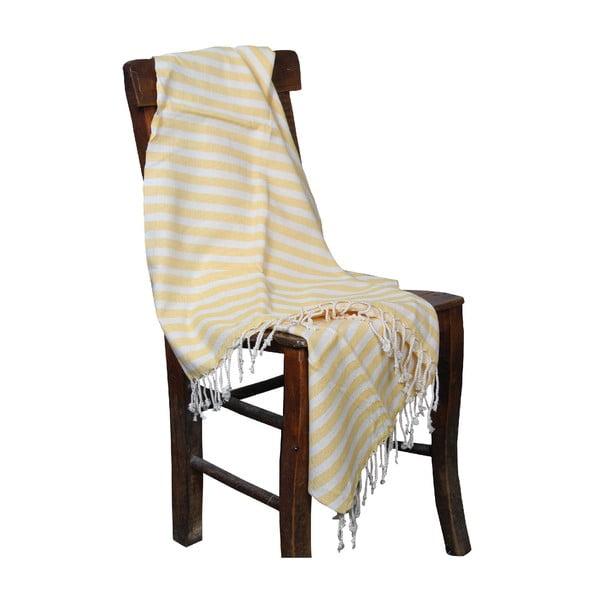 Ręcznik kąpielowy hammam Akasya Yellow, 90x190 cm