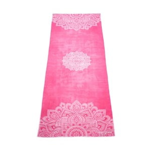 Różowy ręcznik na jogę Yoga Design Lab Hot Mandala, 340 g