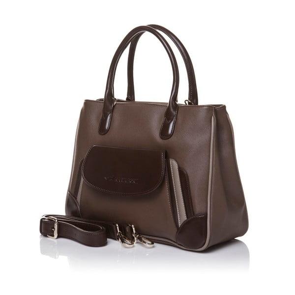 Skórzana torebka do ręki Marta Ponti Pocket, jasnobrązowa/ciemnobrązowa
