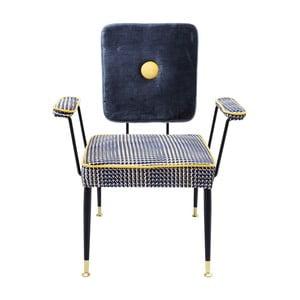 Niebiesko-żółte krzesło z podłokietnikami Kare Design Factory
