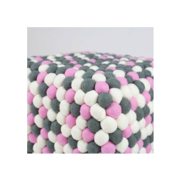 Ręcznie wykonany kulkowy puf Ping Pong, kwadratowy