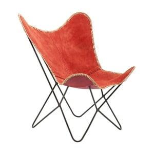 Czerwony fotel skórzany Kare Design Butterfly Wild