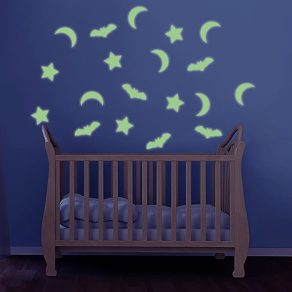 Świecąca w ciemności naklejka Gwiazdy i nietoperz, 60x30 cm