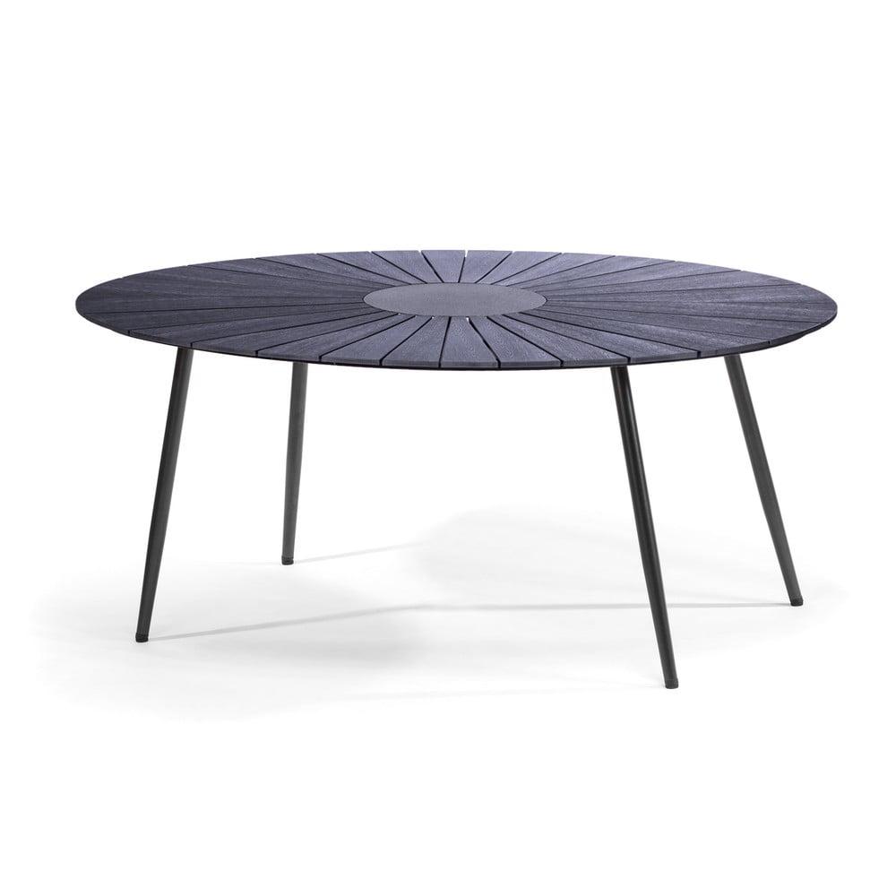 Czarny stół ogrodowy z kamiennym blatem Le Bonom Marienlist, 115x190 cm