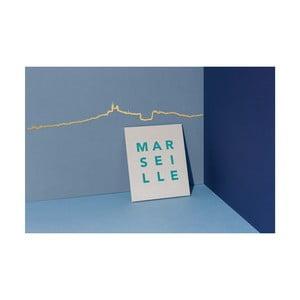 Pozłacana dekoracja ścienna z zarysem miasta The Line Marseille