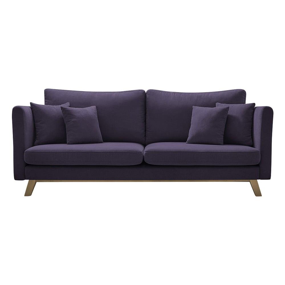 Fioletowa rozkładana sofa Bobochic Paris Triplo