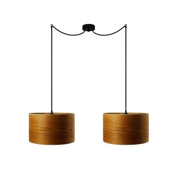 Podwójna lampa wisząca w kolorze drewna wiśniowego Sotto Luce TSURI