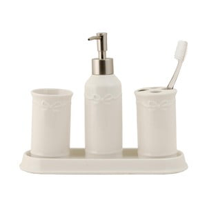 Zestaw 4 pojemników łazienkowych White
