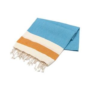 Niebieski ręcznik z pomarańczowym pasem Hammam Begonvilla, 100x180cm