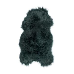 Ciemnozielona skóra owcza z długim włosiem, 100x55cm