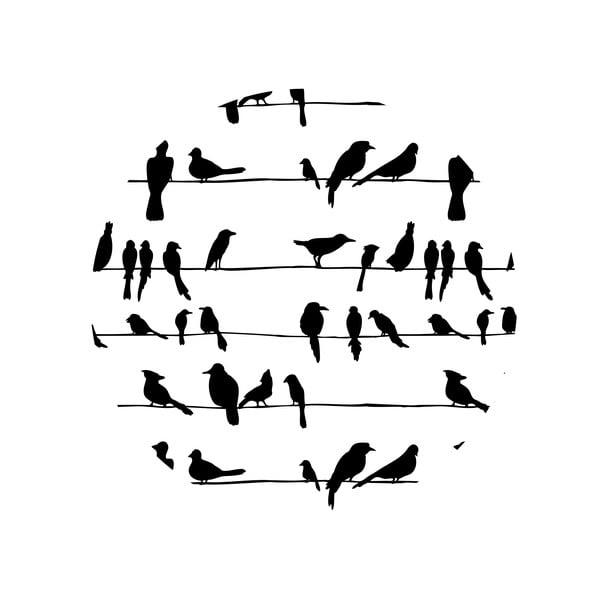 Zestaw 2 stolików Birds On Wire, 35 cm + 49 cm