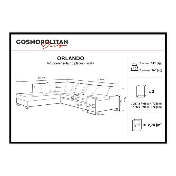 Grafitowy narożnik z nogami w czarnym kolorze Cosmopolitan Design Orlando, lewy róg