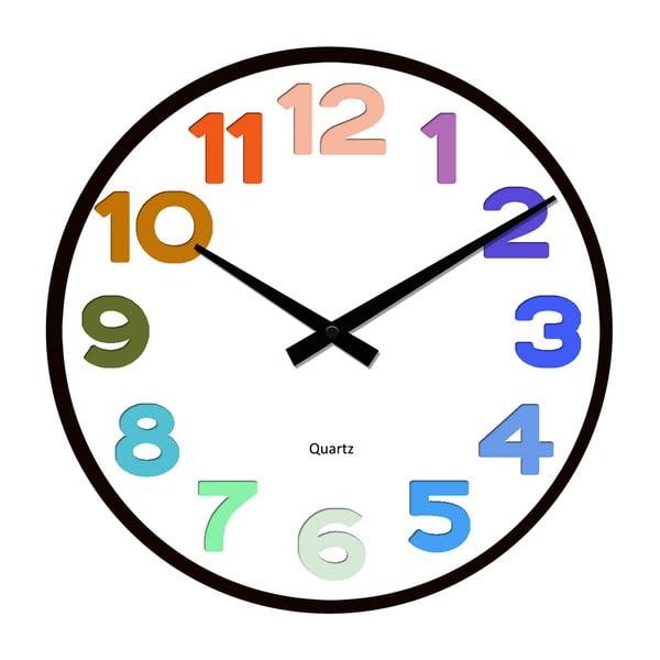 Szklany zegar Tęczowe cyfry, 34 cm