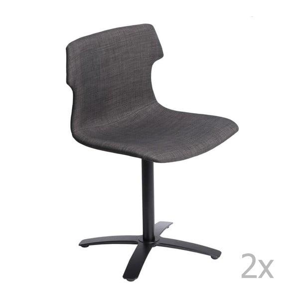 Zestaw 2 brązowych tapicerowanych krzeseł D2 Techno One